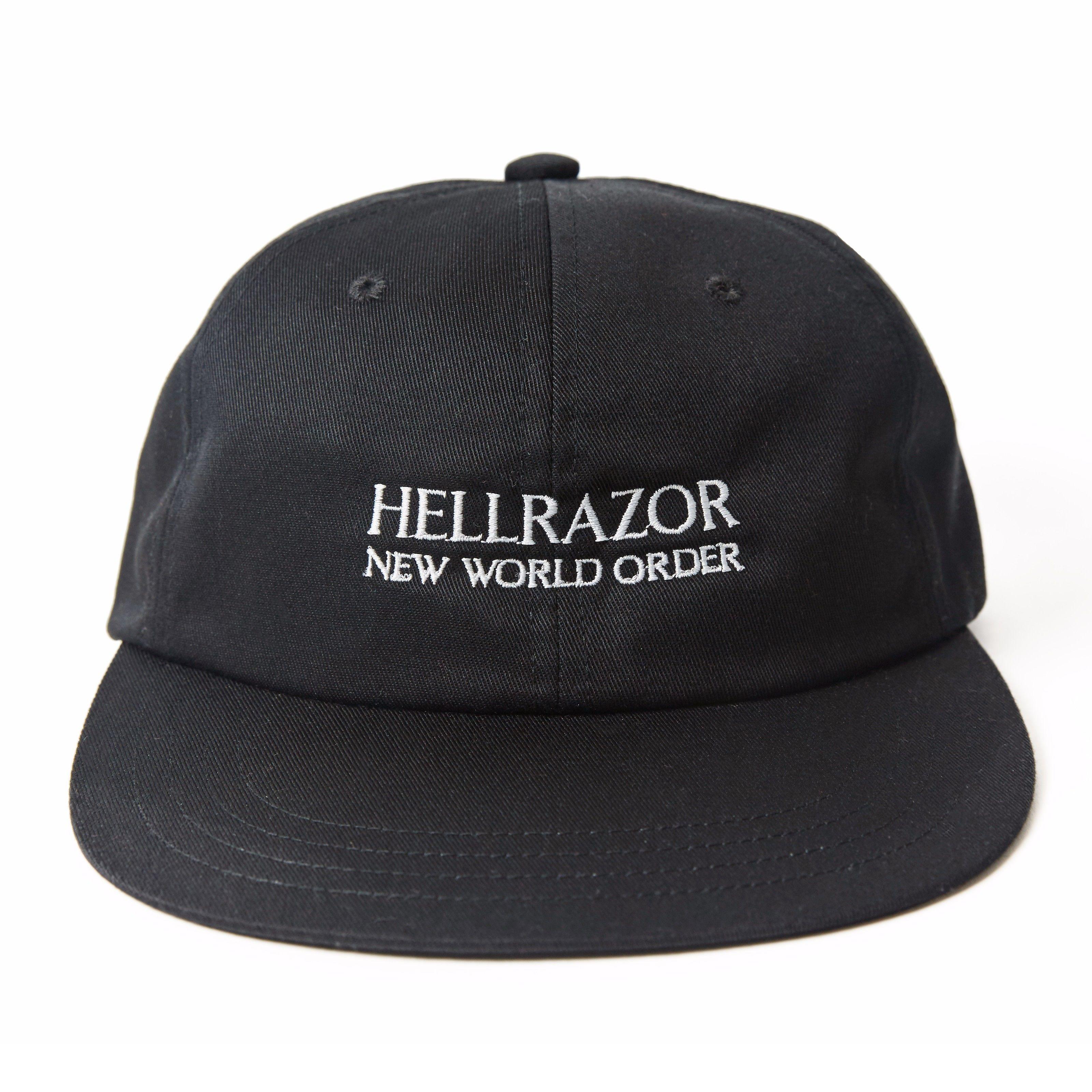 HELLRAZOR NEW WORLD ORDER 6PANEL CAP BLACK  617d79a44a26
