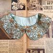 vintage インド製 ライトブルー ザリ刺繍 つけ襟/古着 ビンテージ