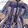 vintage インド綿 ブルー×ラメ糸 オールインワン/古着 ビンテージ