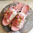 vintage イタリア製 パウダー ピンク ビーズ装飾 ヒール サンダル/古着 ビンテージ ミュール