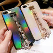 [KS180] ★ iPhone 6 / 6Plus / 7 / 7Plus ★シェル型 ケース パールベージュ ブラックシルバー 偏光 ホログラム ブレスレット iPhone ケース