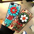 [KS139] ★ iPhone 6 / 6Plus / 7 / 7Plus ★ シェル型 ケース ボヘミアン エスニック ターコイズ カラフル フラワー デコ iPhone ケース