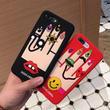 [KS189] ★ iPhone 6 / 6Plus / 7 / 7Plus ★シェル型 ケース ブラック レッド ネイル ポップ な ユニーク イラスト iPhone ケース