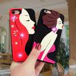 [KS199] ★ iPhone 6 / 6Plus / 7 / 7Plus ★シェル型 ケース 3D シリコン 美人画風 横顔 キラキラ ビジュー iPhone ケース