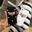 [KS154] ★ iPhone 6 / 6Plus / 7 / 7Plus ★シェル型 ケース ホワイト ブラック ミツバチ ラインストーン きらきら iPhone ケース