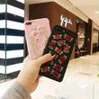 [KS169] ★ iPhone 6 / 6Plus / 7 / 7Plus ★シェル型 ケース ブラック ピンク バラ 小花 フラワー 花柄 刺繍 レトロ レザー調 iPhone ケース