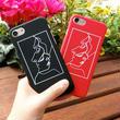 [KS148] ★ iPhone 6 / 6Plus / 7 / 7Plus ★ シェル型 ケース ブラック レッド 線画 横顔 フェイス アート iPhone ケース