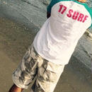 17SURF ラグランT ターコイズ×ホットピンク
