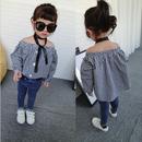 kids★gingham check  off shoulder blouse