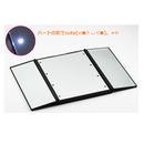 鏡 スタンドミラー 折りたたみ 三面鏡  ハート かわいい LED ライト コンパクト 化粧鏡