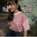 Motivestreet STRIPE MIX OVERFIT TEE (Red)