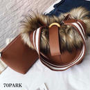 # 3way  Faux Fur Bucket Bag  ポーチ付き ボリューム ファー バケツバッグ 全5色