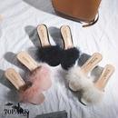 #Faux Fur Mule  フェイクファー 太ヒール ミュール 全3色 サンダル