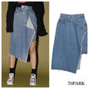 #Asymmetric Denim Skirt  アシンメトリー リメイク デニム スカート 3サイズ展開 ブルー