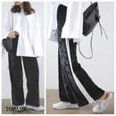 # Velvet Wide Leg Pants  ベロア サイドライン入り ワイド パンツ ブラック