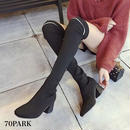#Over The Knee Socks Boots ライン入り ニーハイ ソックスブーツ 黒 チャンキーヒール