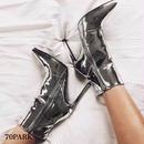 #Metallic Color Ankle Boots メタリックカラー 細ヒール アンクルブーツ 全2色 シルバー