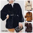 # Eco Fur Belted Jacket  ベルト付 エコ ファー ジャケット 全5色 フェイクファー  ファーコート