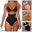 #Cutout High-waisted Bikini   サイドカットアウト ハイウエスト 三角 ビキニ  全3色 水着