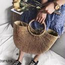 #Ring Handle Half Moon Basket Bag リングハンドル 半円 かごバッグ 全2色