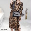 #Leopard Print Long Shirt Dress  レオパード柄 ロング シャツ ワンピース 豹柄 長袖