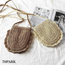 #Crocheted Lace Crossbody Bag レース編み ペーパー素材 ミニ ショルダーバッグ 全2色 かごバッグ