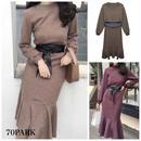 #Belted Long Sleeve Knit  Dress サッシュベルト付 マーメイドライン ニット ワンピース 全2色