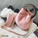 #Ring Handle Fur Bucket Bag コインケース付 リングハンドル ファー バケツバッグ 全4色