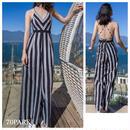 #Black Striped Wide Leg Jumpsuit  背中開き ストライプ ワイドパンツ  オールインワン 白黒 リゾート