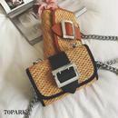 #Straw Chain Bag  太ベルト かご チェーン ショルダー バッグ 全3色  カゴバッグ