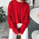 #Cable Knit Sweater  ケーブル編み クルーネック ルーズ ニット 全4色