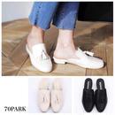 #Tassel Low Heel Slippers  タッセル付き スリッパ 全2色 ホワイト ブラック ミュール