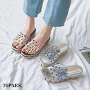 #PVC Spike Sandals スタッズ PVC クリア 厚底 ジュート サンダル 全2色