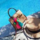 #2way Tassel Basket  Bag カラー タッセル付き かご ショルダー バッグ カゴバッグ