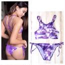 #Purple Tie-dye Bikini -Swimwear- タイダイ柄 ブラジリアン ビキニ パープル ホルターネック 水着