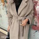 #Tailored  Faux Fur Wrap Coat  テーラードカラー エコファー ガウンコート ベージュ