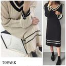 #Tilden Knit  Dress チルデン ニット リブ ワンピース 全2色 ニットワンピ