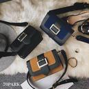 # 2way  Bi-color Shoulder Bag  バイカラー ゴールドバックル ショルダーバッグ★全3色 ベルト