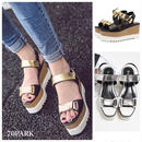 #Metallic Platform Sandals  メタリック ベルト プラットフォーム サンダル  全2色 厚底