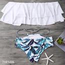 # Leaf Print Off The Shoulder Bikini リーフ柄 オフショルダー フリル  ビキニ 水着 ホワイト リゾート