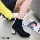 #Metallic Heel Ankle Sock Boots ゴールド メタリック ヒール サークル ジップ ソックス ブーツ