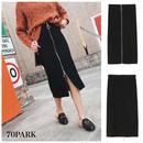 #Ribbed Zip-Front Pencil Skirt フロント ダブル サークル ジップ リブスカート ブラック ロング