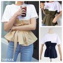 #Bustier T-Shirt  ベルト付 ビスチェ レイヤード風 Tシャツ 全3色 トップス