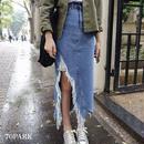 #Crash Denim Skirt  ハイダメージ デニム スカート ブルー クラッシュ デニム