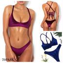 #Velvet  Lace Up Bikini バック レースアップ ベロア ビキニ  全4色 水着  ブラジリアン