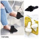 #Pointed Toe Fur Sandals ポインテッドトゥ ファー スリッパ   全2色 ミュール サンダル