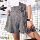 #Belted Striped Shorts ストライプ柄 変形 ショートパンツ グレー キュロット