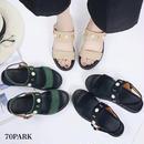 #Pearl Studded Sandals パールビジュー付き ストラップ サンダル 全3色 フラット