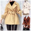 #Sleeve Fur Coat  ベルト付 袖ファー テーラードカラー コート 全3色 部分ファー