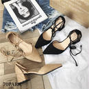 #Lace Up Pointed Toe Pumps スエード調 ローヒール レースアップ パンプス 全2色